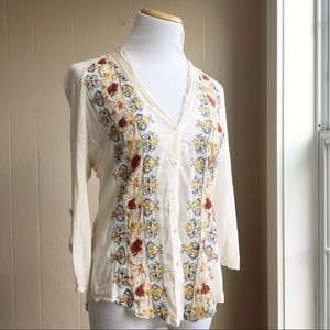 Anthropologie Embroidered Naima Button Down